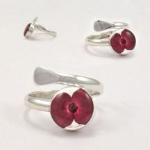 Remembrance Silver Ring, Poppy Collection